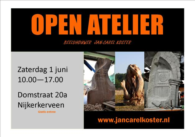 De werkplaats van Beeldhouwer Jan-Carel Koster is 1 juni geopend voor alle geïnteresseerden.